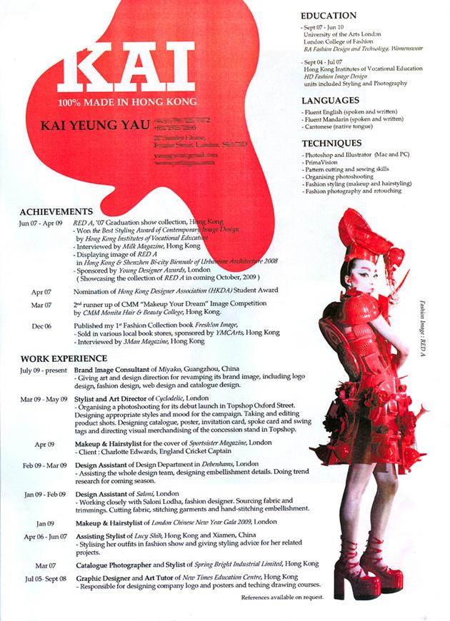curriculum diseño de moda